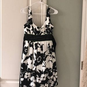 Adorable white with black floral pattern dress